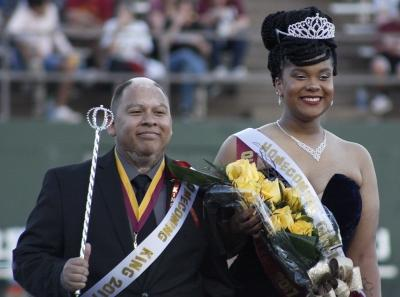 Juan Mercado, sociology senior, and Jaylon Williams, sociology senior, named homecoming king and queen during halftime of the homecoming game against West Texas where the Mustangs won 45-3 at Memorial stadium on Saturday, Oct. 21, 2017. Photo by Justin Marquart