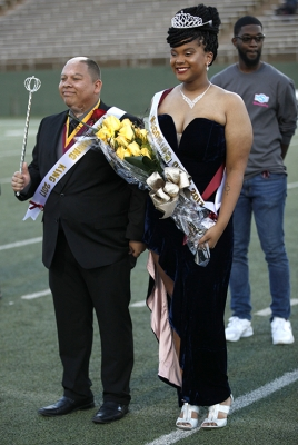 Juan Mercado, sociology senior, and Jaylon Williams, sociology senior, smile after being announced as King and Queen during half-time of the MSU vs West Texas A&M game at Memorial Stadium, MSU won 45-3, Saturday, Oct. 21, 2017. Photo by Francisco Martinez