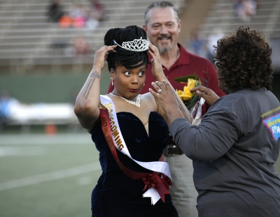 Jaylon Williams, sociology senior, being crowned Queen during half-time of the MSU vs West Texas A&M game at Memorial Stadium, MSU won 45-3, Saturday Oct. 21, 2017. Photo by Francisco Martinez
