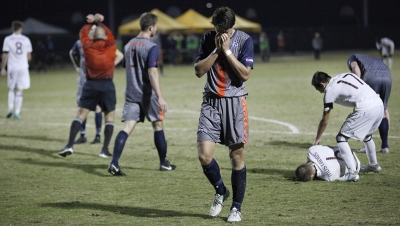 Pierre Bocquet, business senior, recieves a penalty kick after being fouled within the goalie box during the NCAA Division II South Central Regional game vs Colorado School of Mines at Stang Park, where MSU won 2-0. Thursday, Nov. 16, 2017. Photo by Francisco Martinez