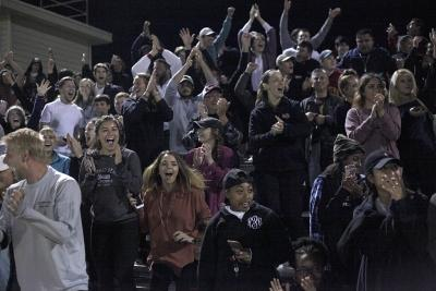Crowd celebrates second goal made on the last minute of the NCAA Division II South Central Regional game vs Colorado School of Mines at Stang Park, where MSU won 2-0. Thursday, Nov. 16, 2017. Photo by Francisco Martinez