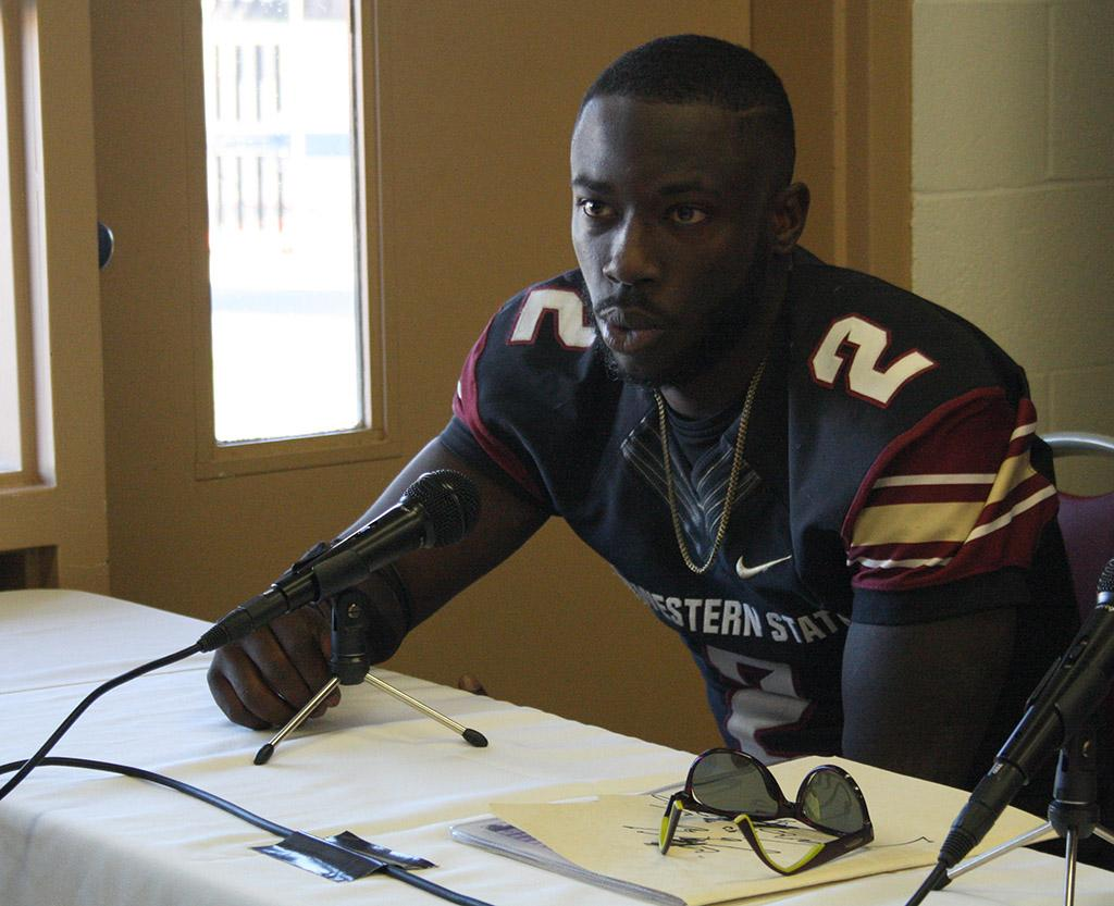 Sir'vell Ford, criminal justice junior, answers questions at the press conference held at the end of the Round One NCAA II Playoffs game where MSU beat University of Sioux Falls 24-20, advancing MSU to Round Two against Minnesota State. Photo by Rachel Johnson