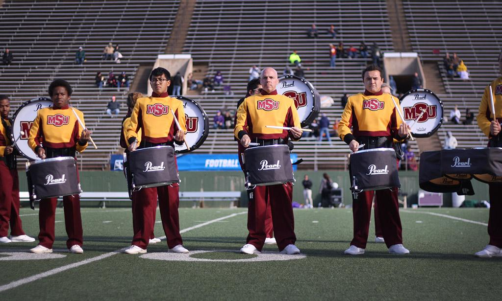MSU's Golden Thunder Drumline performs for the halftime show cduring the Round One NCAA II Playoff game against University of Sioux Falls at Memorial Stadium, Saturday Nov. 18, 2017. MSU beat USF 24-20. Photo by Rachel Johnson