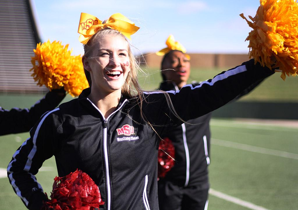 Claire Mowery, radiology sophomore, cheers the MSU Football team onto victory during the Round One NCAA II Playoff game against University of Sioux Falls at Memorial Stadium, Saturday Nov. 18, 2017. MSU beat USF 24-20. Photo by Rachel Johnson