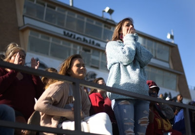 Alex BLake, finance senior, puts her hands to her face after an MSU player was tackled making his way down the field during the Round One NCAA II Playoff game against University of Sioux Falls at Memorial Stadium, Saturday Nov. 18, 2017. Photo by Rachel Johnson