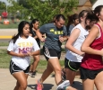 Alexandra Blake, accounting junior, pulls ahead of the start of the Counseling Center's 5K Run for Suicide Prevention Awareness at Sikes Lake, Sept. 13. Photo by Herbert McCullough