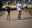 Mackenzie Trammell, business management freshmen, and Rebekah Barrett, Respiratory Care, Freshman run during the Counseling Center's 5K Run for Suicide Prevention Awareness at Sikes Lake, Sept. 13. They both share first place. Photo by Herbert McCullough