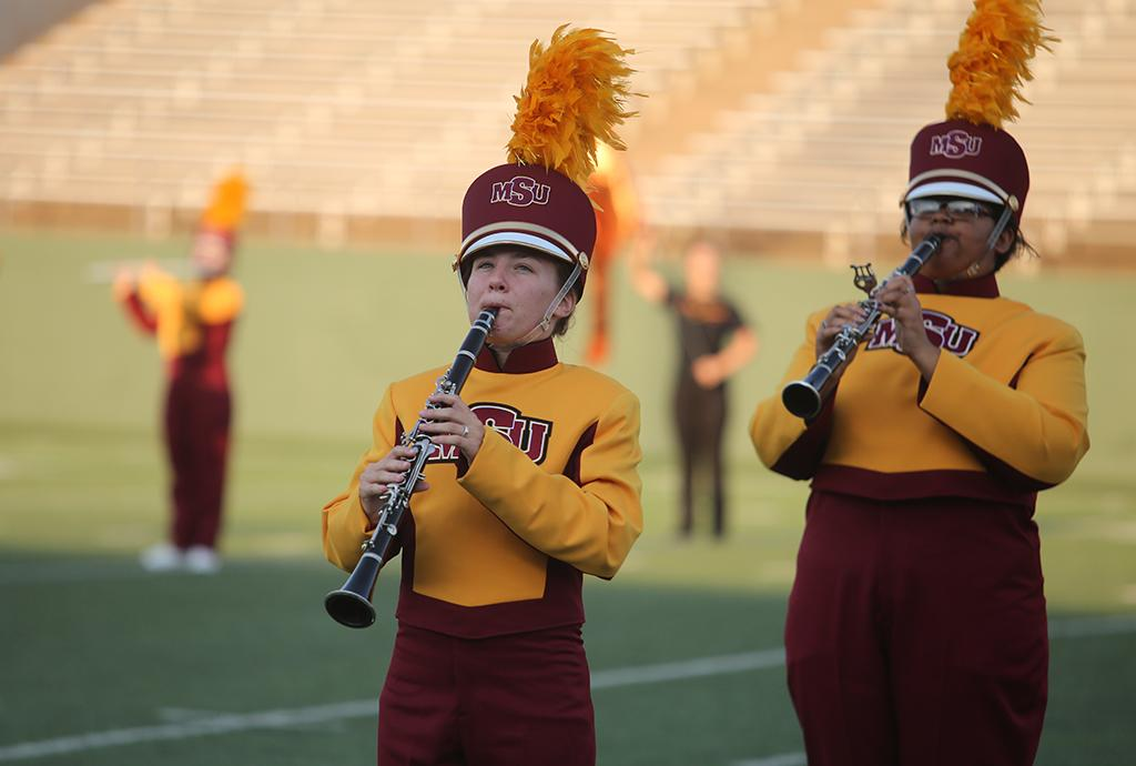 Jessica Simek, music sophomore, at the Midwestern State football game, Aug. 31, 2017, against Quincy, Illinois. MWSU won 53-6 in the season opener. Photo by Bradley Wilson
