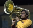 Timothy Harrel, music education junior, preforms in the half time show during the game against Texas A&M Kingsville at Memorial Stadium Sept. 16. Photo by Rachel Johnson