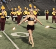 Alexis Maggard, twirler, at the Midwestern State football game, Aug. 31, 2017, against Quincy, Illinois. MWSU won 53-6 in the season opener. Photo by Bradley Wilson