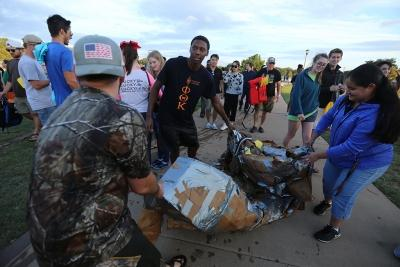 at the homecoming cardboard boat race on Sikes Lake Oct. 20, 2017. Photo by Bradley Wilson