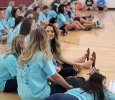 Chi-Omegas sit on the sideline of the Championship game at the Chi-Omega Basketball Tournament, Swishes for Wishes, where The Fab 5 beat The Sticky Bandits 27-20, Saturday, March 28, 2015. Photo by Rachel Johnson
