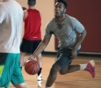 Gerald Ezendu, nursing sophomore, dribbles the ball down the court to make a layup, during the Chi-Omega Basketball Tournament, Swishes for Wishes, Sat. March 28, 2015. Photo by Rachel Johnson