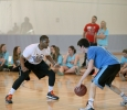 "Cooper Tisdale, pre-pharmacy freshman, stands off against Andre Shaw, grad assistant coach, to move up the court, during the Chi-Omega Basketball Tournament, Swishes for Wishes. Fab 5 beat Sticky Bandit, 27-20, in the championship game, Saturday, March 28, 2015. Shaw said, ""We did it to give back, bring back unity to the school, and help a good cause."" Photo by Francisco Martinez"