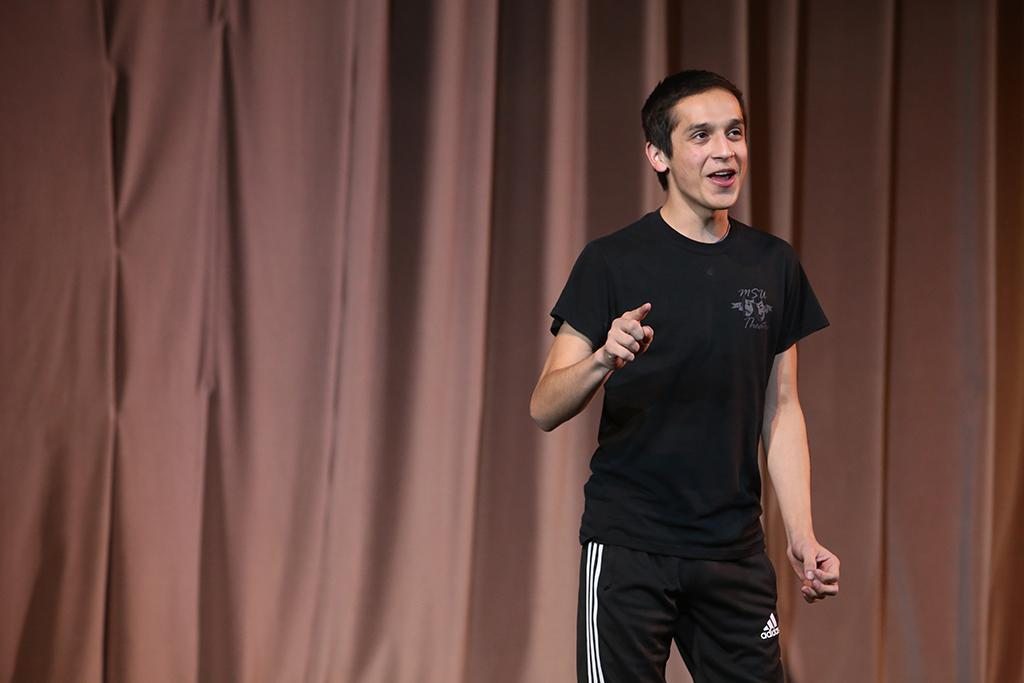 Chris Cruz sings at callbacks for Urinetown. Cruz was selected for the role of Mr. McQueen. ©2017 Bradley Wilson