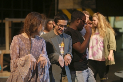 "Chris Cruz practices dance moves at ""Urinetown"" rehearsal Jan. 31. Photo by Bradley Wilson"