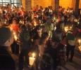 About 180 students and others gather outside of Bolin Hall with candles to honor the victims of the remnants of tropical storm Erika during the Caribbean Student Organization Candlelight Vigil, Sept. 1. Photo by Francisco Martinez