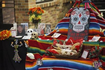Display for the Dia de los Muertos event held by multiple organizations in the Atrium where food and drinks were provided, Wednesday, Nov. 1, 2017. Photo by Francisco Martinez