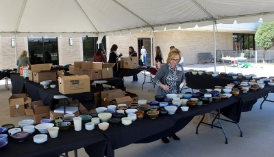 Outdoor exhibit of MSU donated bowls at Empty Bowls of Wichita Falls at Wichita Falls Museum of Art at MSU, Oct 10, 2017. Photo by Francisco Martinez