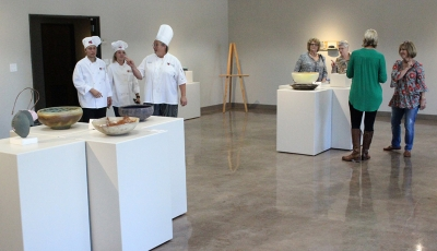 Attendees look at the gallery during the Empty Bowls of Wichita Falls at Wichita Falls Museum of Art at MSU, Oct. 10, 2017. Photo by Francisco Martinez