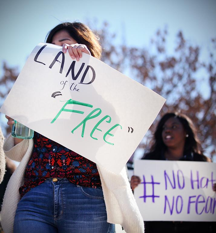 Student marching at the rally against the immigration executive order, on Feb. 1st. Photo by Bridget Reilly