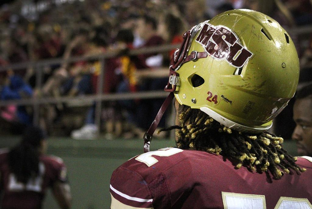 The Football players had the number 24 put on all of their helmets before the Family Day game against Western New Mexico Univeristy in honor of Robert Grays, MSU football player that passed at their last football game. Photo by Marissa Daley