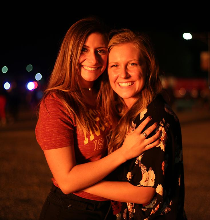 Kimrie Brock, junior, and Kaitlynn Briant, nursing sophomore at the bonfire. 19th October 2017. Elias Maki