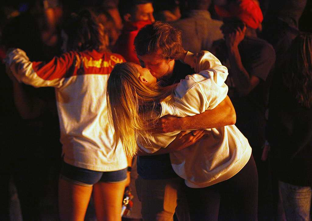 Joshua Luffman, psychology sophomore, and Courtney Lawrence, dental hygiene, share a kiss during the MSU Pep Rally & Bonfire at Nocona Trail South Lot, Thursday, Oct. 19, 2017. Photo by Francisco Martinez