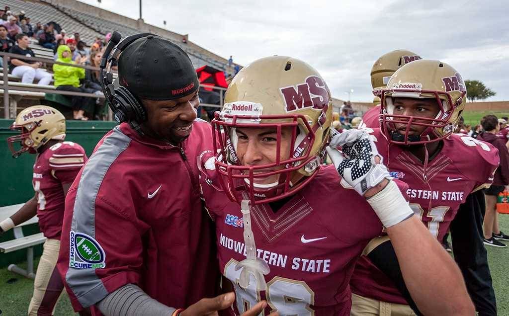 Bryce Martinez, business management freshman, scoring his first college touchdown at the MSU football homegame against Oklahoma Panhandle state photo by Izziel Latour
