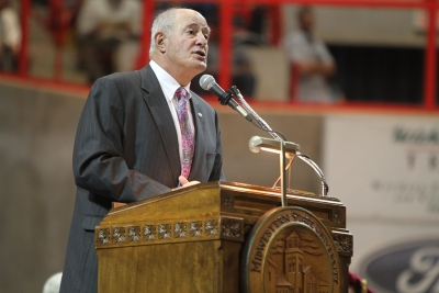 Graduation speaker, Kel Seliger, Texas state senator from District 31, at Midwestern State University graduation, May 10, 2014. Photo by Lauren Roberts