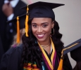 Raina Winston, biology, makes her way to the main ceremony at Midwestern State University graduation May 13, 2017. Photo by Timothy Jones