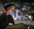 University President Suzanne Shipley announces the Hardin Professor at Midwestern State University graduation, May 13, 2017. Photo by Bradley Wilson
