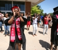 Briana Frazier does a step with her Delta Sigma Theta sisters after Midwestern State University graduation, May 13, 2017. Photo by Bradley Wilson