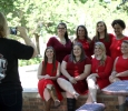 Executive officers of Alpha Phi take a picture together by Bolin Fountain in the the Quadrangle during the Alpha Phi and Kappa Alpha's annual Midwestern Cookout Classic on April 30. Photo by Makayla Burnham