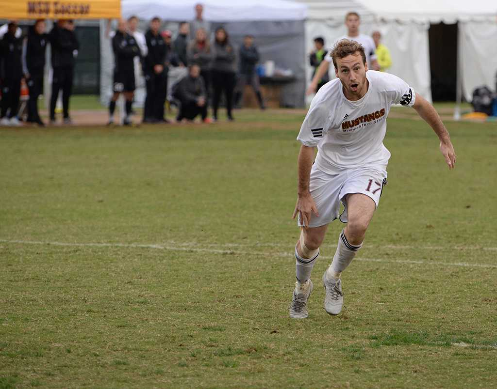 Kyle Baccus lunges toward the goal at the Heartland Conference playoff game against St. Edward's. MSU lost 0-2. Photo by Zack Santagate