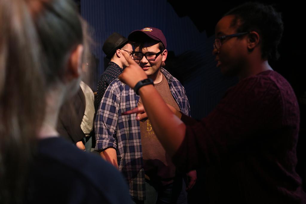 "Steven Kintner plays Tiny Tom at ""Urinetown"" rehearsal Feb. 5, 2018. Photo by Bradley Wilson"