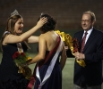 Sabina Marroquin gets her crown as the 2014 homecoming queen from the 2013 recipient Kayla Gray. Photo by Bradley Wilsonat the homecoming game, Oct. 25, 2015. Photo by Bradley Wilson