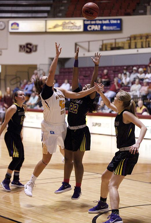 Whitney Taylor, education senior, attempts a shot during the MSU vs Hardin-Simmons game in D.L. Ligon Coliseum where MSU won 61-42, Thursday, Nov. 2, 2017. Photo by Francisco Martinez