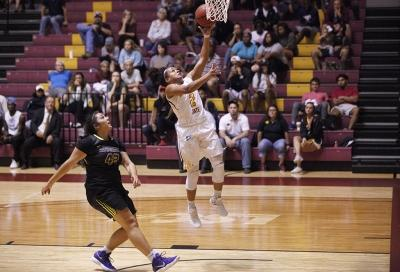 Jasmine Richardson, exercise physiology senior, jumps for a lay-up during the MSU vs Hardin-Simmons game in D.L. Ligon Coliseum where MSU won 61-42, Thursday, Nov. 2, 2017. Photo by Francisco Martinez