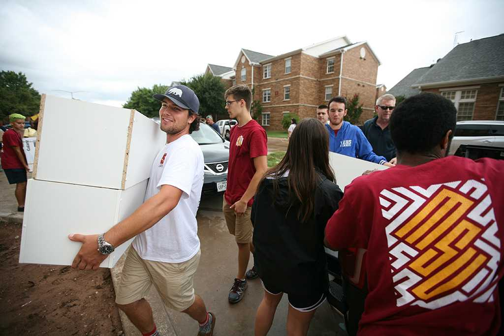 Austin Snyder, a freshman in business administration, during Move-in for Legacy Hall at Midwestern State University, Aug. 20, 2016. Photo by Bradley Wilson