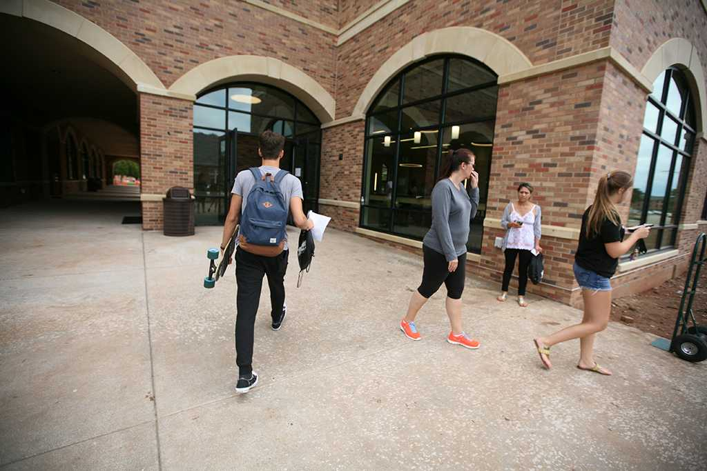 Jordan Smith, criminal justice freshman, during Move-in for Legacy Hall at Midwestern State University, Aug. 20, 2016. Photo by Bradley Wilson