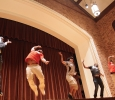 Omega Delta Phi performing their last dance move at the Lip Sync competition in Akin Auditorium. 24 Oct. Photo by Bridget Reilly