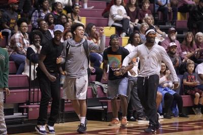 MSU students celebrate a 3 point shot during the MSU vs. Oklahoma City exhibition game at D.L. Ligion Coliseum where MSU won 85-56, Tuesday, Nov. 14, 2017. Photo by Francisco Martinez
