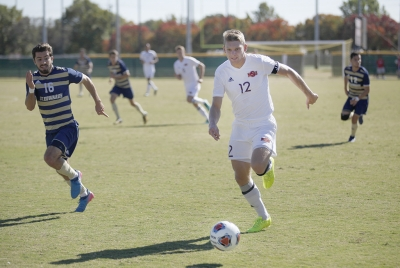 Alex Mullet, finance junior, moves up the field during the Heartland championship game against St. Edward's at Stang Park, where MSU won 1-0, Sunday, Nov. 5, 2017. Photo by Francisco Martinez