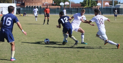 Ross Fitzpatrick and Sebastian Venegas during the Heartland Conference championship game aginst St. Edward's University. MSU won 1-0. Photo by Bradley Wilson