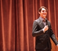 Second artist lecture series held by R.J. Mitte, speaking to students at the Akin Auditorium on the importance of tackling fears, combatting bullying and the stigma behind disabilities. Oct 18, 2016. Photography by Bridget Reilly