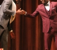 Rocksen Jean-Louis, music sophomore, leans in to give Edward Collins, psychology freshman, a handshake after Collins was announced 2017 Mr. Caribfest at the Mr. and Miss Caribfest Pageant held in Akin Auditorium Sept. 28, where about 300 people were in attendance. Photo by Marissa Daley
