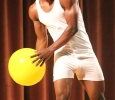 Rocksen Jean-Louis, music sophomore, throws a beach ball into the audience during the swim wear portion of the 2017 Mr. and Miss Caribfest Pagaent held in Akin Auditorium Sept. 28. Photo by Marissa Daley