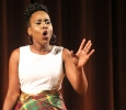 Beyandra Blanchard, radiology sophmore, proforms a monologue about the different cultures between the Caribbean Islands for the 2017 Mr. and Mrs. Caribfest in Akin Auditorium on Sept 28. Photo by Marissa Daley