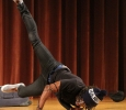 Edward Collins, psychology freshman, shows his break dancing moves in the talent portion of the the 2017 Mr. and Mrs. Caribfest in Akin Auditorium on Sept 28. Photo by Marissa Daley